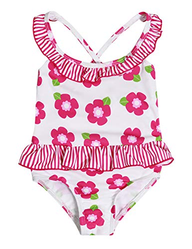 Baby Girl Swimsuit Floral Ruffle Bikini Striped Bathing Suit