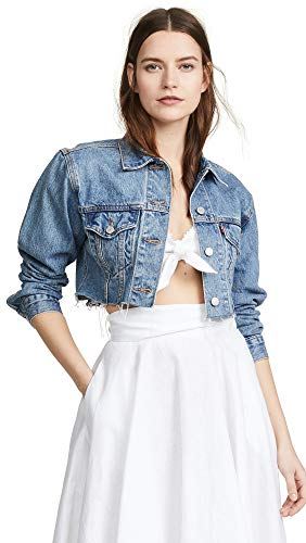 Levi's Women's Cropped Trucker Jacket, Off The Grid, Blue, Large