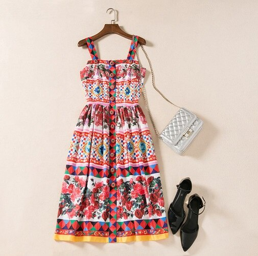 New 18 brand fashion women girls floral rose patterns print summer dress