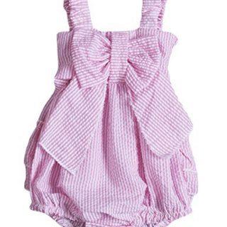Charm Kingdom Baby Girls Striped Seersucker Bubble Straps