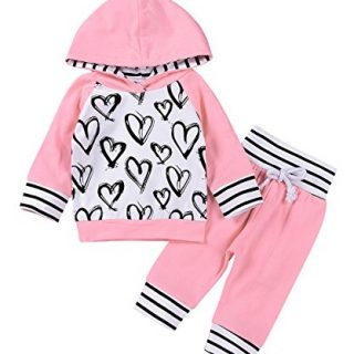 2Pcs Newborn Baby Girls Hand-painting Heart Tops Hoodies Pants Outfits Set