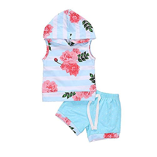 Toddle Kids Baby Girl Hoodie Floral Stripe Outfit Set Sleeveless