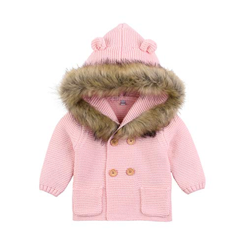 Newborn Baby Girls Sweater Cardigan Pink Long Sleeve