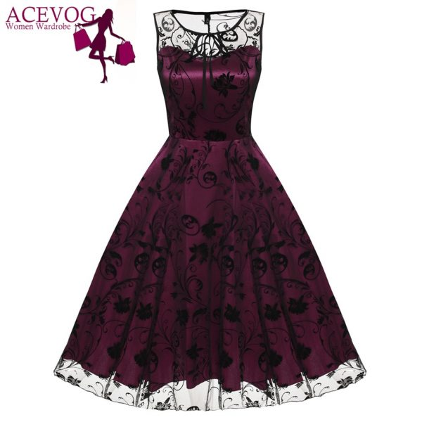 ACEVOG Retro Women Vintage Style Sleeveless Mesh