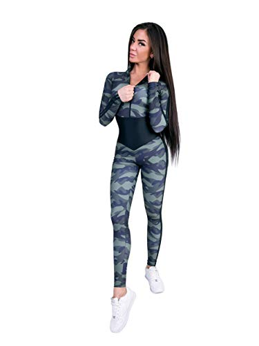 Jumpsuit for Workout Long Sleeves Military Bodysuit Fitness