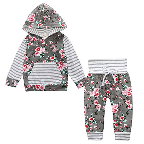 Toddler Baby Girl 2pcs Set Outfit Floral Striped Print Flower Hoodies Top