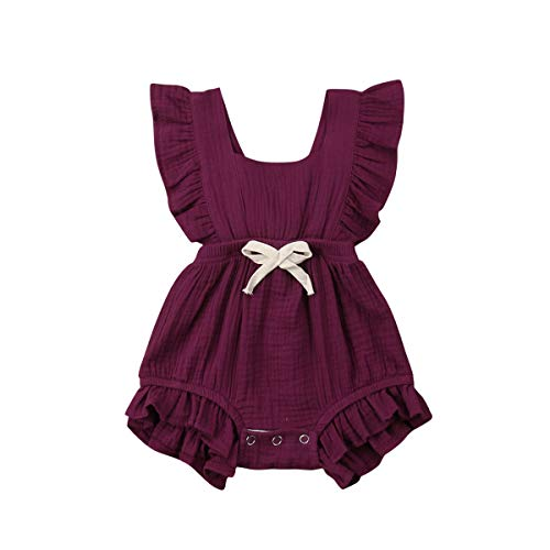 Infant Newborn Baby Girl Romper Ruffle Bowknot Bodysuit Jumpsuit