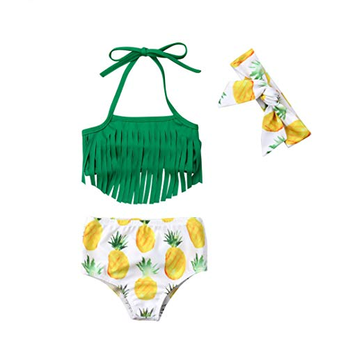 Baby Girl Babies Swimwear Tassels Floral Pinapple Bowknot Swimsuit