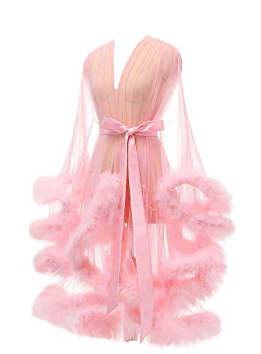 Lamosi Sexy Feather Robe Illusion High Low Boudoir Robe