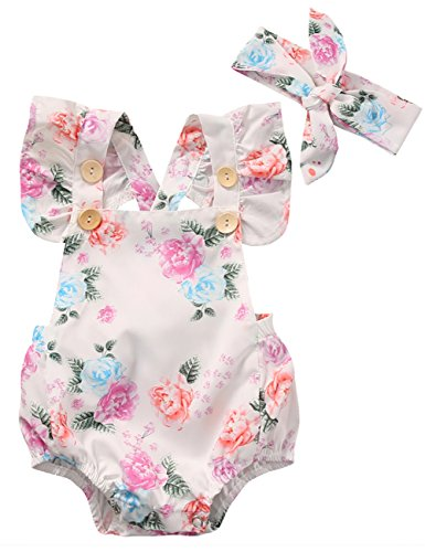 Canis Baby Girls' Full Flower Print Buttons Ruffles Romper Bodysuit