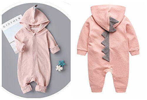 JELLYKIDS Newborn Baby Boys Girls Cartoon Dinosaur Hoodie Romper Halloween Onesies Climb Clothes