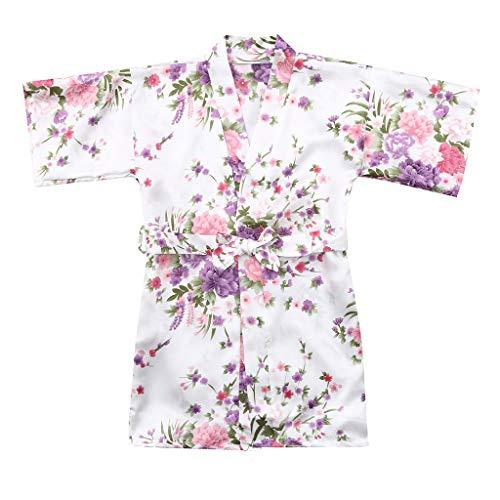 MOMKER Children Girls Silk Robes Satin Robe Short Floral