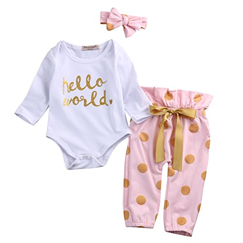 3Pcs Infant Newborn Baby Girls Hello World Romper