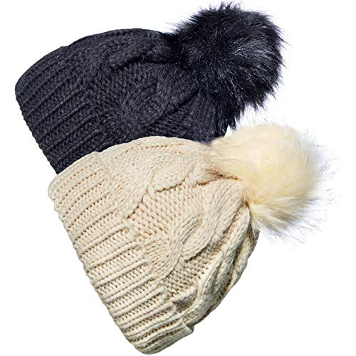 YSense 2 Pack Baby Boy Girl Winter Warm Fleece Lined Hat Infant Toddler