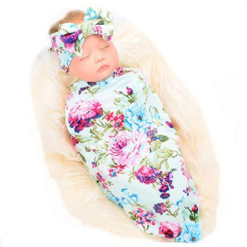 Galabloomer Newborn Receiving Blanket Headband Set