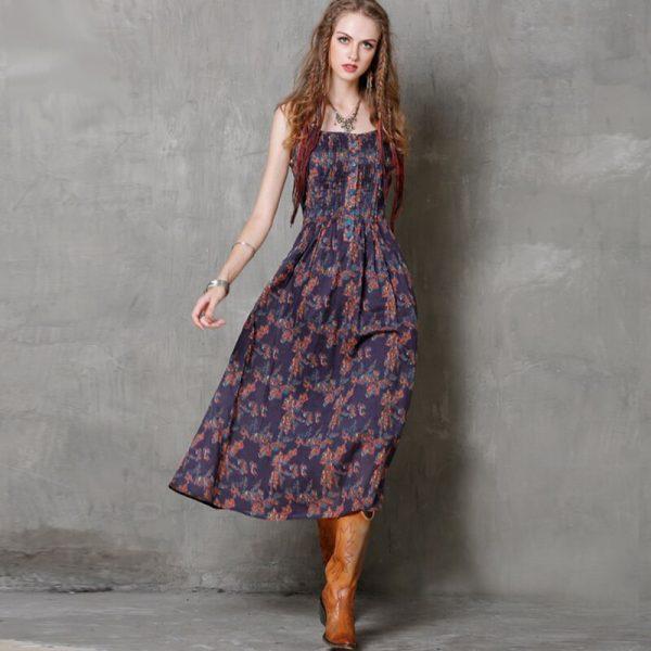 Bohemian Summer Dress Women High Waist Cotton