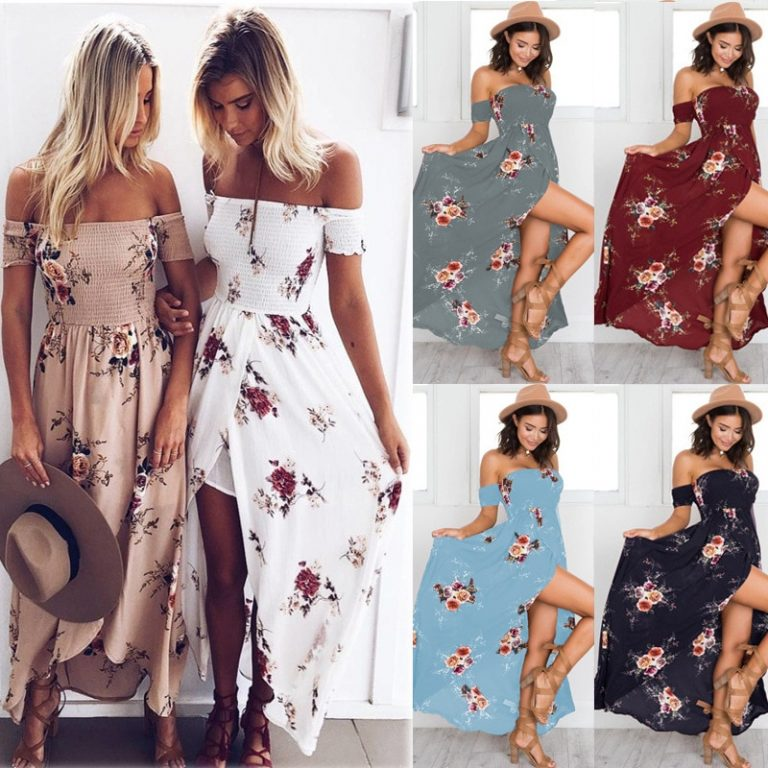 Lossky 18 New Women Sexy Side Split Summer Dress