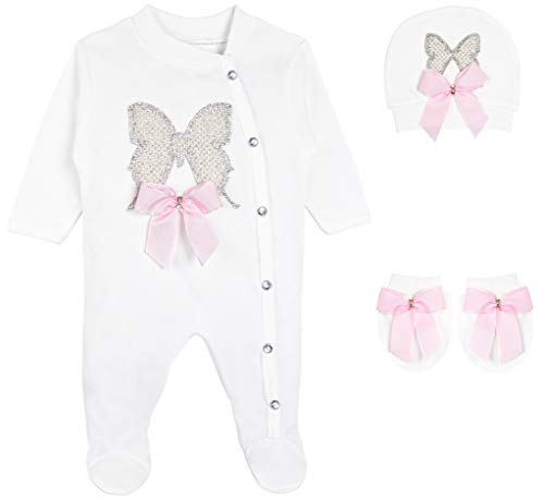 Lilax Baby Girl Jeweled Butterfly Layette 3 Piece Gift Set