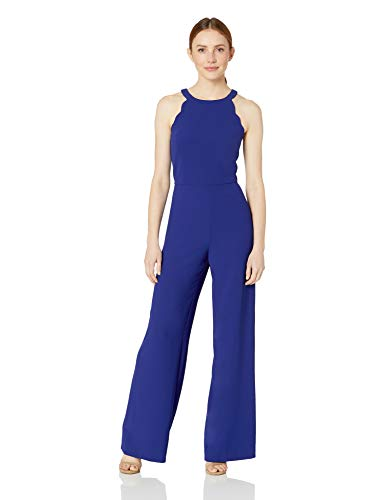 Adrianna Papell Women's Scalloped Halter Jumpsuit