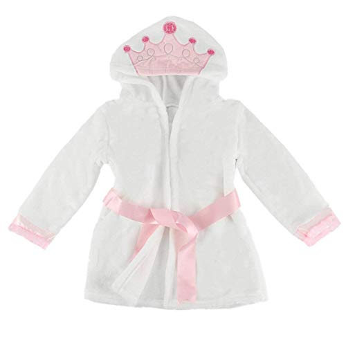 puseky Baby Girls Princess Crown Lace Dressing Gown Bath Robe