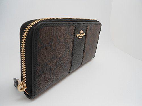 coach-f54630-signature-pvc-leather-accordion-zip-wallet-brown-black