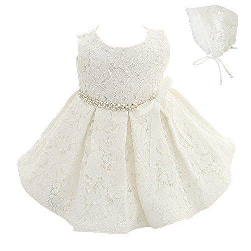 Meiqiduo Baby Girls 3Pcs Set Christening Baptism Wedding Formal Dress