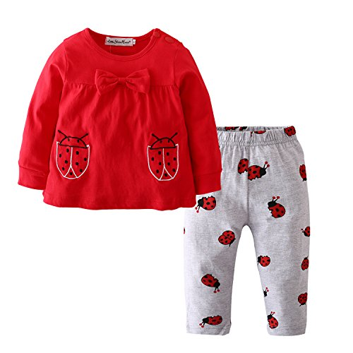 Baby Girls Clothes Set 2 Piece Long Sleeve Ladybug Pattern Toddler Outfits