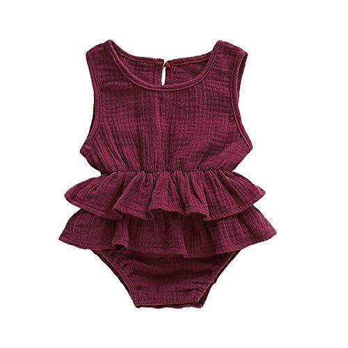 Yoveme Newborn Baby Girl Ruffle Romper Bodysuits Cotton Flutter Sleeve