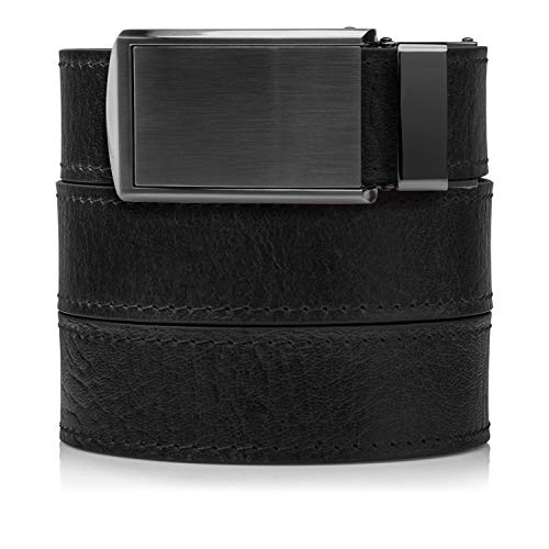 Top Grain Black Leather Belt with Gunmetal Buckle