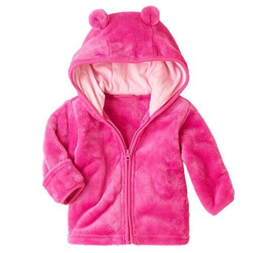 XWDA Baby Girl' Solid Micro Fleece Jacket with Lined Hood