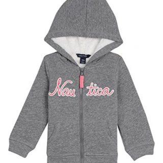 Nautica Baby Girls' Super Soft Fleece Hoody, Medium Grey Heather