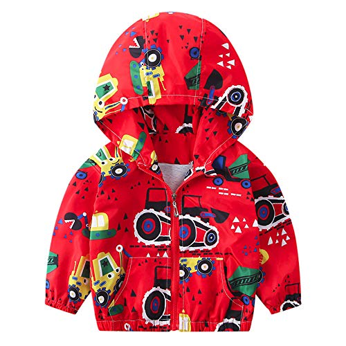 Kehen Boy's Girl's Dinosaur Print Zip Jacket Hooded Windproof Raincoat