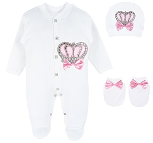 Lilax Baby Girl Newborn Crown Jewels Layette 3 Piece Gift Set
