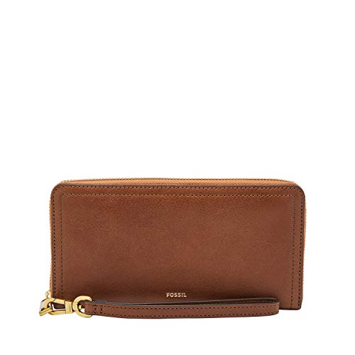 Fossil Logan RFID Zip Around Clutch Brown