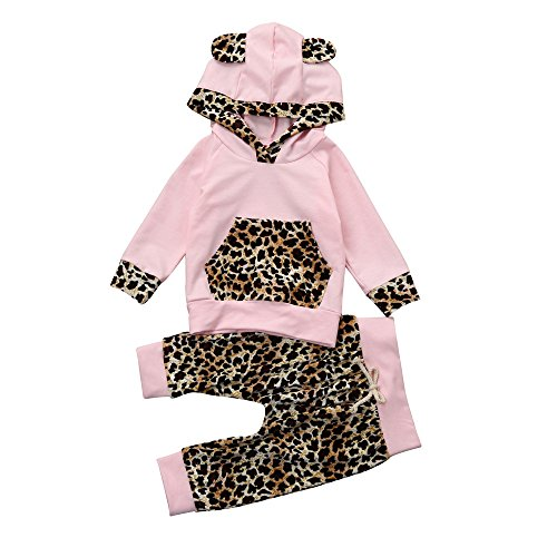 Memela Baby Girls Leopard Print Hoodie Clothing Set 2 Pieces