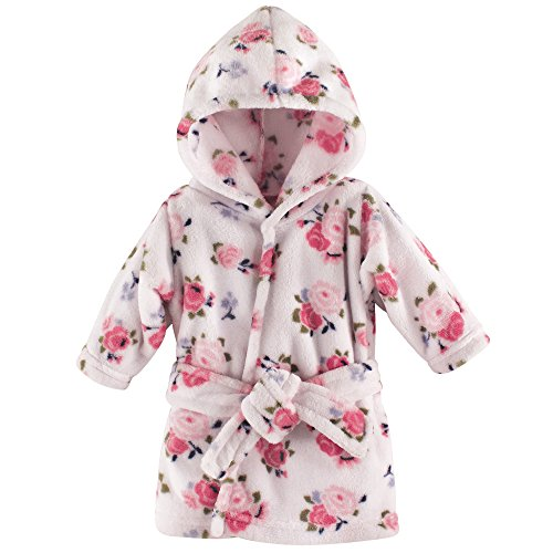 Luvable Friends Plush Bath Robe, Floral, 0-9 Months