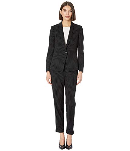 Tahari by ASL Women's Pinstripe Jacket Pants Suit Black