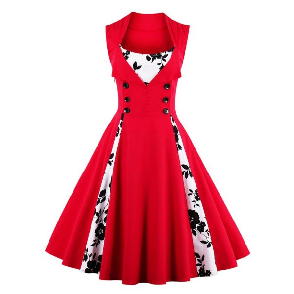 Sexy Vintage Dress Women Red Summer Dress Patchwork Sleeveless