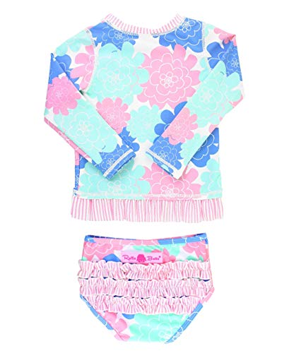 RuffleButts Baby/Toddler Girls Pastel Floral Long Sleeve