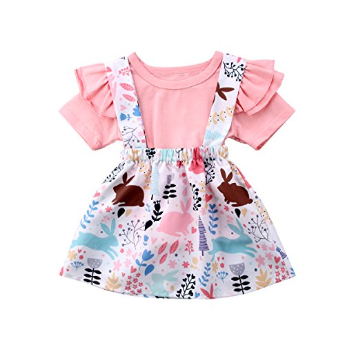 Toddler Baby Girls Clothes Set Ruffle Short Sleeve T-Shirt Tops
