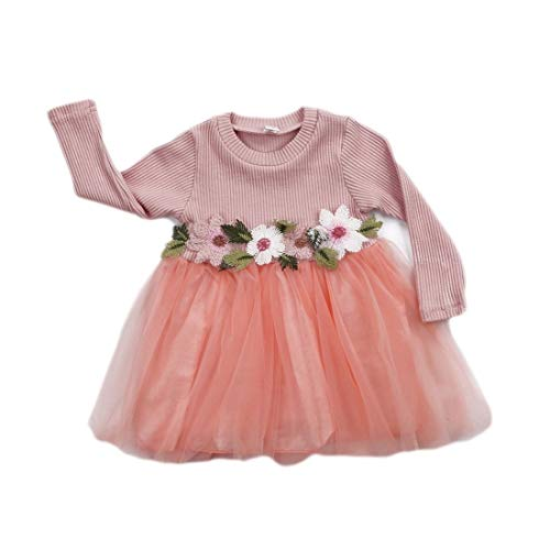 GRNSHTS Baby Girls Flower Applique Long Sleeve Gauze Dress