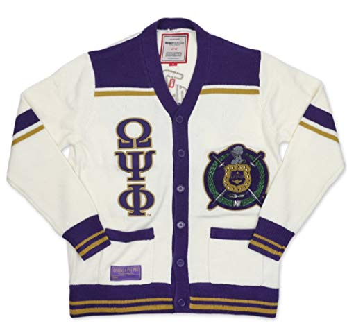 Omega Psi Phi New Wool Cardigan Sweater Medium White