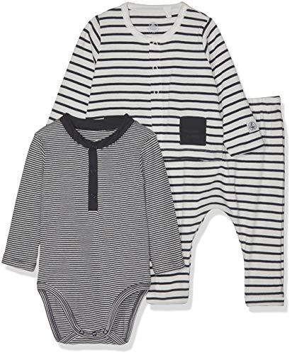Petit Bateau Baby Boys 3 Piece Set, Striped Bodysuit, Pants, and Cardigan
