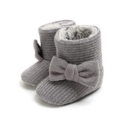 Infant Baby Girls Boys Snow Booties Bow Knitting Warm Fleece