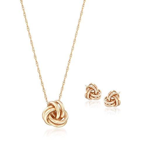 Ross-Simons 14kt Yellow Gold Love Knot Jewelry Set