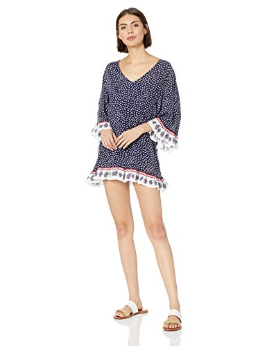 Anne Cole Women's Flounce V Neck Solid Tunic Swim Cover Up