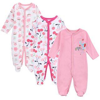 Fairy Baby Baby Girls 3 Pack Pink Footie Sleep' N Play Coveralls