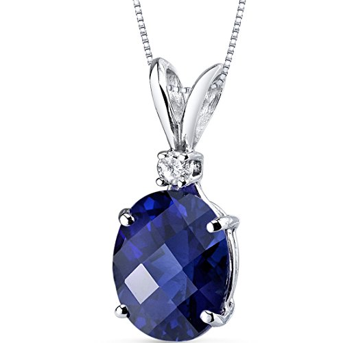 14 Karat White Gold Oval Shape 3.50 Carats Created Blue Sapphire