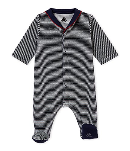 Petit Bateau Baby Boys Velour Striped Footie