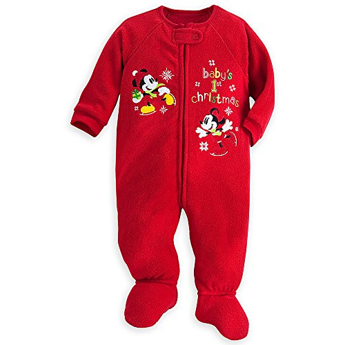 Disney Mickey Minnie Mouse Baby's 1st Christmas Sleeper Bodysuit